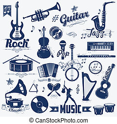 Retro music label - illustration of retro music label in...