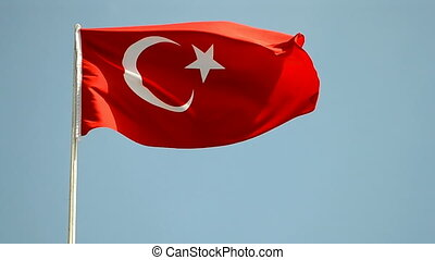 turkish flag on blue sky - Turkish flag on blue sky in sunny...