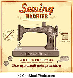 Vintage sewing machine - illustration of vintage sewing...