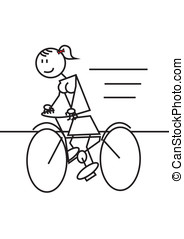 stick figure cycling female - Stick figure of a girl mounted...