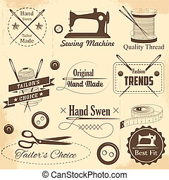 Vintage style sewing and tailor label - illustration of...