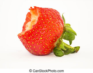 Half eaten strawberry on a white background.