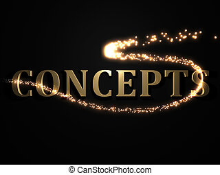 CONCEPTS- 3d inscription with luminous line with spark on...