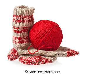 Knitted socks - Knitted warm socks with yarn threads over...