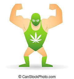 Wrestler with a marijuana leaf - Illustration of a isolated...