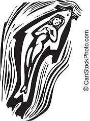 Selkie Swimming - Woodcut style image of a swimming mythical...
