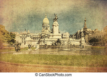 Vintage image of National Congress building, Buenos Aires, Argen