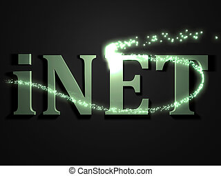 iNET- 3d inscription with luminous line with spark on...