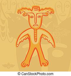 vector Permian bronze gods man-moose - vector Permian animal...