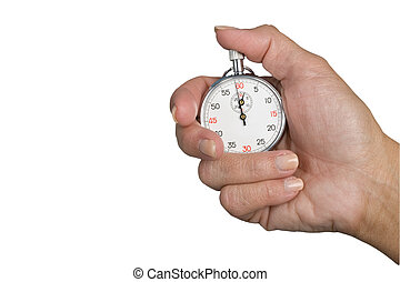 Stopwatch in hand isolated on a white background, stopwatch...