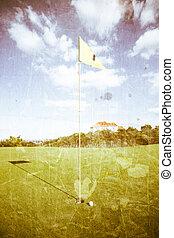 golf course, grunge