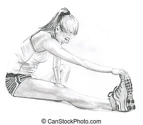 Fitness Stretching - Sketch of woman stretching