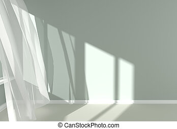 Modern Room Interior with white curtains and sunlight -...