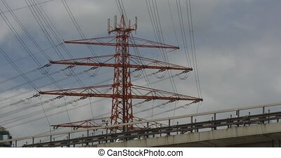 Power Poles And Trucks on a Bridge - A Power Poles And...