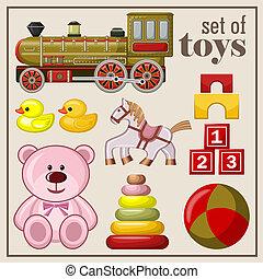 Set of vintage toys Vector illustration
