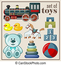 Set of vintage toys Vector illustration