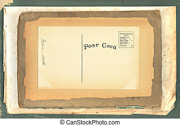 Vintage Postcard on Old Papers
