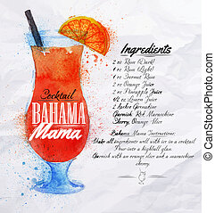 Bahama mama cocktails watercolor - Bahama mama cocktails...