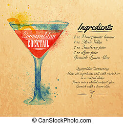 Cosmopolitan cocktails watercolor kraft - Cosmopolitan...