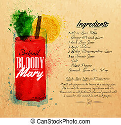 Bloody mary cocktails watercolor kraft - Bloody mary...