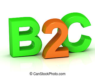 B2C 3d inscription bright volume letter on white background