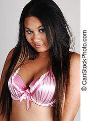 Asian girl in bra.