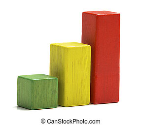 Toys wooden blocks as increasing graph bar, infographic diagram