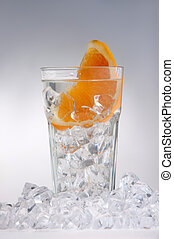 Glass Of Drink With Ice Cubes And Fruits On White - Glass of...
