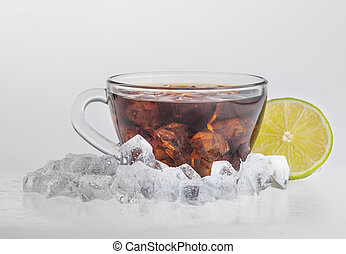 Iced tea with lemon and mint isolated on white background -...