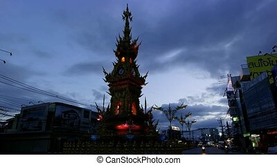 Chiang Rai Clock Tower At 7 pm.