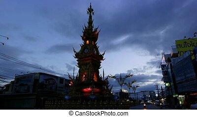 Chiang Rai Clock Tower At 7 pm.