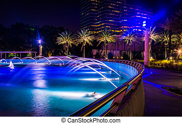 The Friendship Fountains and buildings at night in...