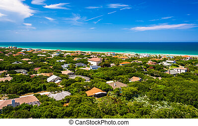 View of houses and the Atlantic Ocean from Ponce de Leon...