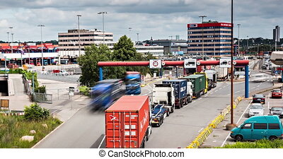 Lots Of Trucks At A Toll Station, 4 - A Lot Of Trucks At A...
