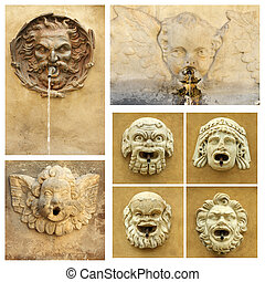 antique street drink water source collection,Tuscany, Italy,...