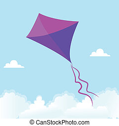 Kite - abstract cute kite on a special background