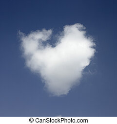 Heart shaped cloud - White heart shaped cloud int he blue...