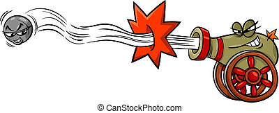 firing cannon and cannonball cartoon - Cartoon Illustration...