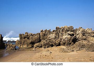 Rough Rock Formation at Umdloti Beach, Durban South Africa -...