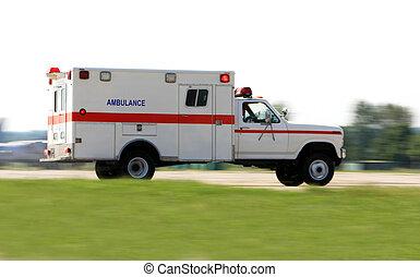 ambulância, dirigindo, rapidamente