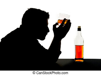 silhouette of alcoholic drunk man drinking whiskey bottle...