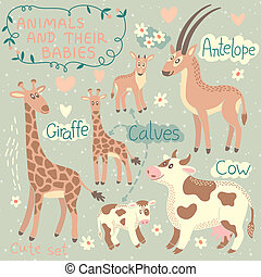 Baby and Mommy Animal Set - for design and scrapbook. Vector...