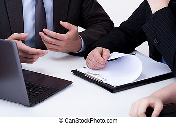 Boss and worker on business meeting - Close-up of boss and...