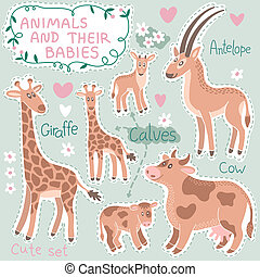 Baby and Mommy Animal Set on paper tags - for design and...