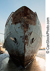 Old ship in the winter