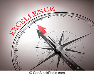 abstract compass with needle pointing the word excellence in...