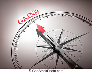 abstract compass with needle pointing the word gains in red...