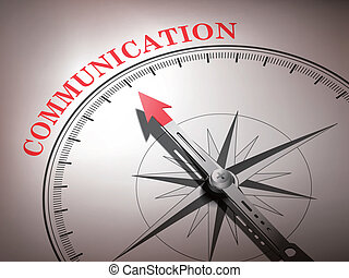 abstract compass needle pointing the word communication in...