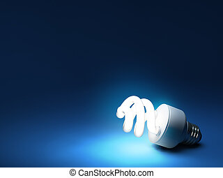 Compact Fluorescent Bulb - Resting on ground - CFL bulb on...