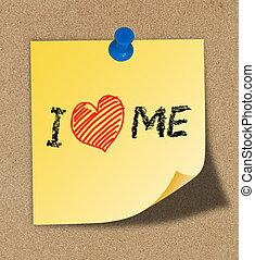 yo, amor, mí, escritura, amarillo, nota, fijado,...